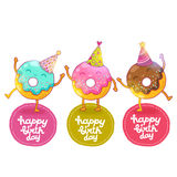 Happy Birthday card background with cute donut. Royalty Free Stock Image