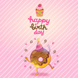 Happy Birthday card background with cute donut. Stock Images