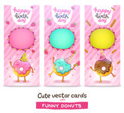 Happy Birthday card background with cute donut. Royalty Free Stock Photo