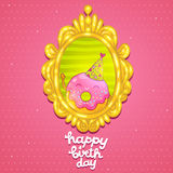 Happy Birthday card background with cute donut. Stock Photo