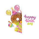 Happy Birthday card background with cute donut. Royalty Free Stock Photos