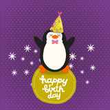 Happy Birthday card background with cute penguin. Royalty Free Stock Photos