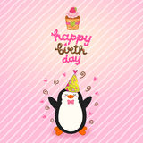 Happy Birthday card background with cute penguin. Vector holiday party template Royalty Free Stock Images