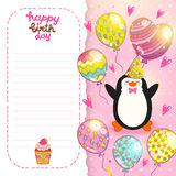 Happy Birthday card background with cute penguin. Stock Photo