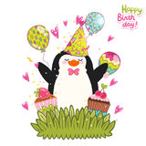 Happy Birthday card background with cute penguin. Royalty Free Stock Photography
