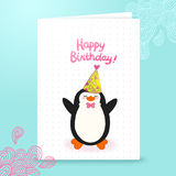 Happy Birthday card background with cute penguin. Stock Images