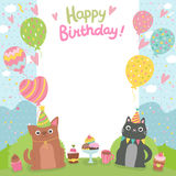 Happy Birthday card background with dog and cat vector illustration
