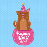 Happy Birthday card background with a dog. Stock Photography
