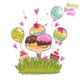 Happy Birthday card background ice cream. Stock Images
