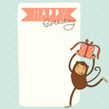 Happy Birthday card background with monkey Stock Photos