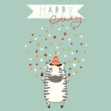 Happy Birthday card background with zebra Royalty Free Stock Image