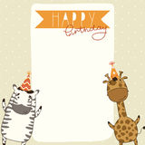 Happy Birthday card background with zebra and giraffe Stock Photo