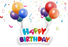 Happy birthday card with balloon and confetti vector illustration