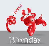 Happy Birthday Card balloon cow Royalty Free Stock Photo