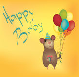 Happy Birthday Card with Balloons Stock Photo