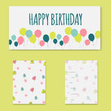 Happy Birthday card. Happy Birthday card with balloons and cake.Vector Stock Images