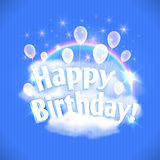 Happy Birthday Card with balloons, clouds and rainbow. Vector illustration, eps10. Stock Photos