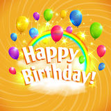 Happy Birthday card with balloons, clouds and rainbow. Vector illustration, eps10. Royalty Free Stock Photo