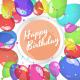Happy birthday card. Balloons and confetti. Stock Images