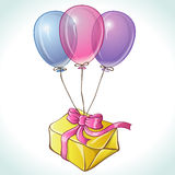 Happy birthday card with balloons and gift Royalty Free Stock Image
