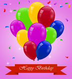 Happy birthday card with balloons. Illustration of happy birthday card with balloons Royalty Free Stock Photography
