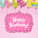 Happy Birthday card with balloons and lettering. Cute cartoon Happy Birthday card with balloons and lettering. Holiday vector background Stock Image