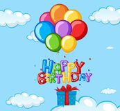 Happy Birthday card with balloons and present. Illustration vector illustration