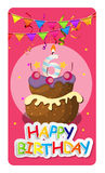 Happy Birthday Card Baner Background  with Cake and Flags. Vecto Royalty Free Stock Photos