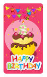 Happy Birthday Card Baner Background  with Cake and Flags. Vecto Royalty Free Stock Photo