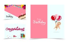 Happy birthday card banners set cartoon collection, confetti celebration party abstract background vector illustration stock illustration