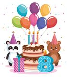 Happy birthday card with bear panda and teddy. Vector illustration design Royalty Free Stock Photo