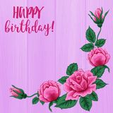 Happy birthday card. Beautiful roses bouquet on pink wood texture. Stock Photos