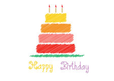 Happy birthday card with Birthday cake,Vector illustrations Royalty Free Stock Photos