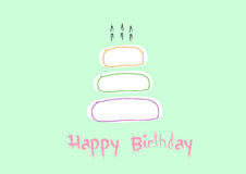 Happy birthday card with Birthday cake,Vector illustrations Stock Images