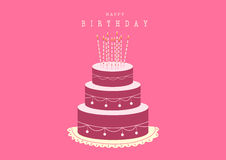 Happy birthday card with Birthday cake,Vector illustrations Stock Photos