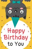 Happy Birthday card with black cat Royalty Free Stock Images