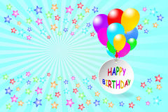 Happy Birthday card in blue color Royalty Free Stock Image