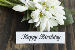 Happy Birthday Card with Bouquet of Snowdrops Stock Image