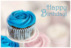 Happy Birthday. Card for boy with a blue cupcake Royalty Free Stock Images