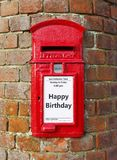 Happy Birthday card. British post box with a message that reads Happy Birthday, ideal for a greeting card design stock photos