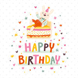 Happy birthday card with bunny and cake. On polka dots seamless pattern Royalty Free Stock Image