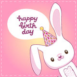 Happy Birthday card with a bunny Royalty Free Stock Images