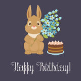 Happy birthday card with bunny/rabbit Stock Photo