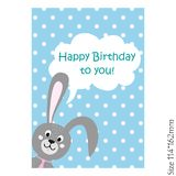 Happy birthday card with Bunny. stock illustration