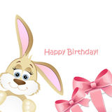 Happy Birthday card with a bunny Royalty Free Stock Photos