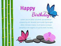 Happy birthday card with butterflies on blue background. Vector. Happy birthday greeting card with butterflies and bamboo stems in flat style. Flowers design Royalty Free Stock Image
