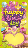 Happy Birthday card with cake, balloon and cupcake Stock Photography