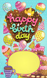 Happy Birthday card with cake, balloon, cupcakes. Happy Birthday card background with cake, balloons and cupcakes. Vector holiday party template Royalty Free Stock Image