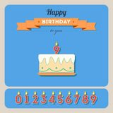 Happy birthday card with cake and candle Stock Photos