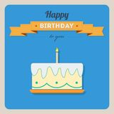 Happy birthday card with a cake and candles Royalty Free Stock Photography